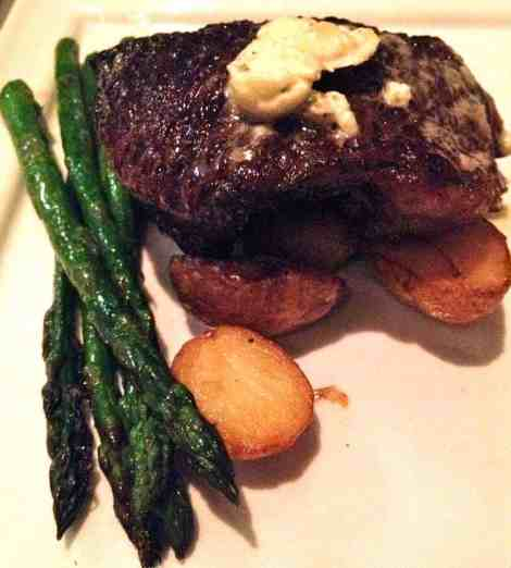 waygu sirloin with asparagus and potatoes at bon terra