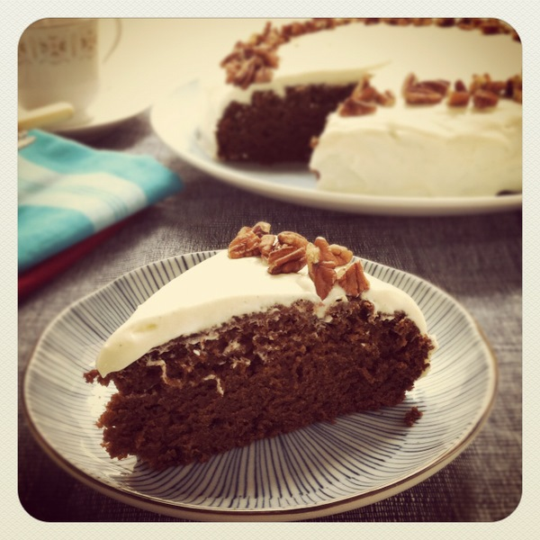 Molasses cake with cream cheese icing