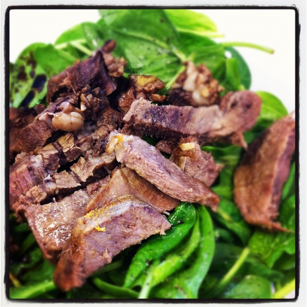 Ox tongue and salad