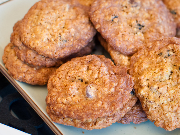 Blueberry and chocolate oat cookies