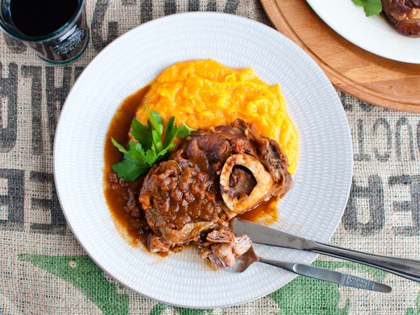 Dark beer and vegemite braised osso bucco