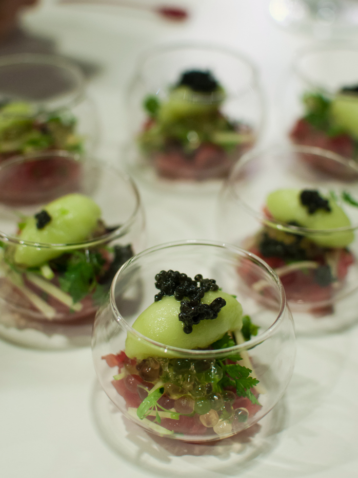 Sashimi grade tuna with textured green apple and sevruga Caviar