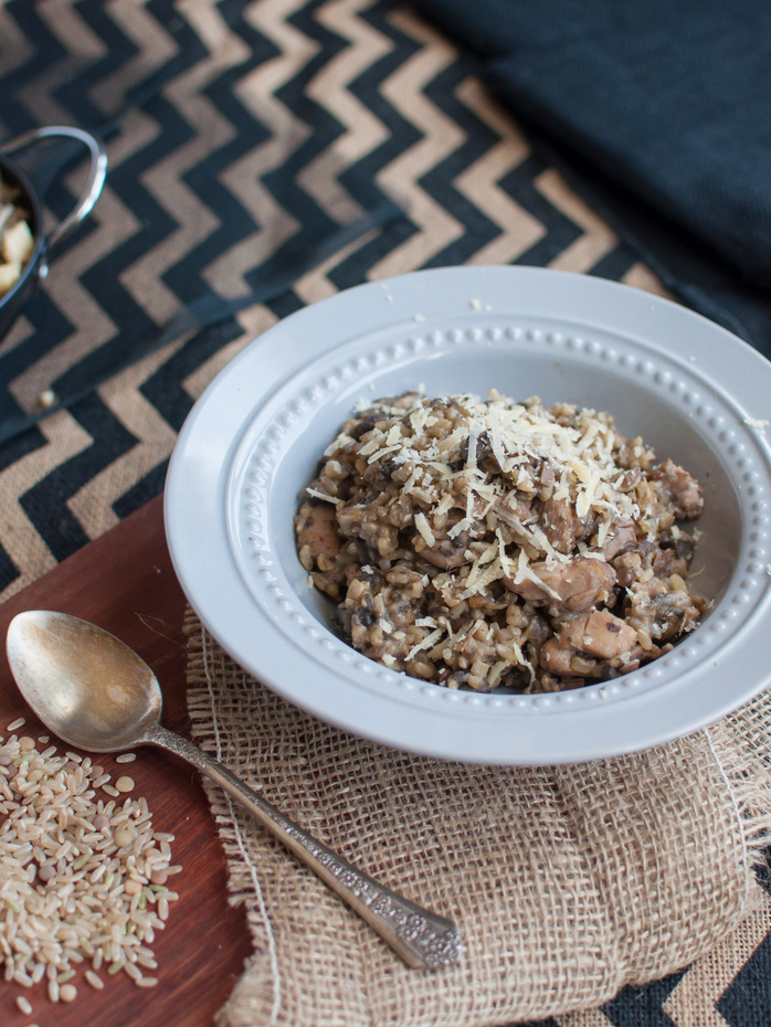 Chicken and mushroom brown rice and lentil risotto