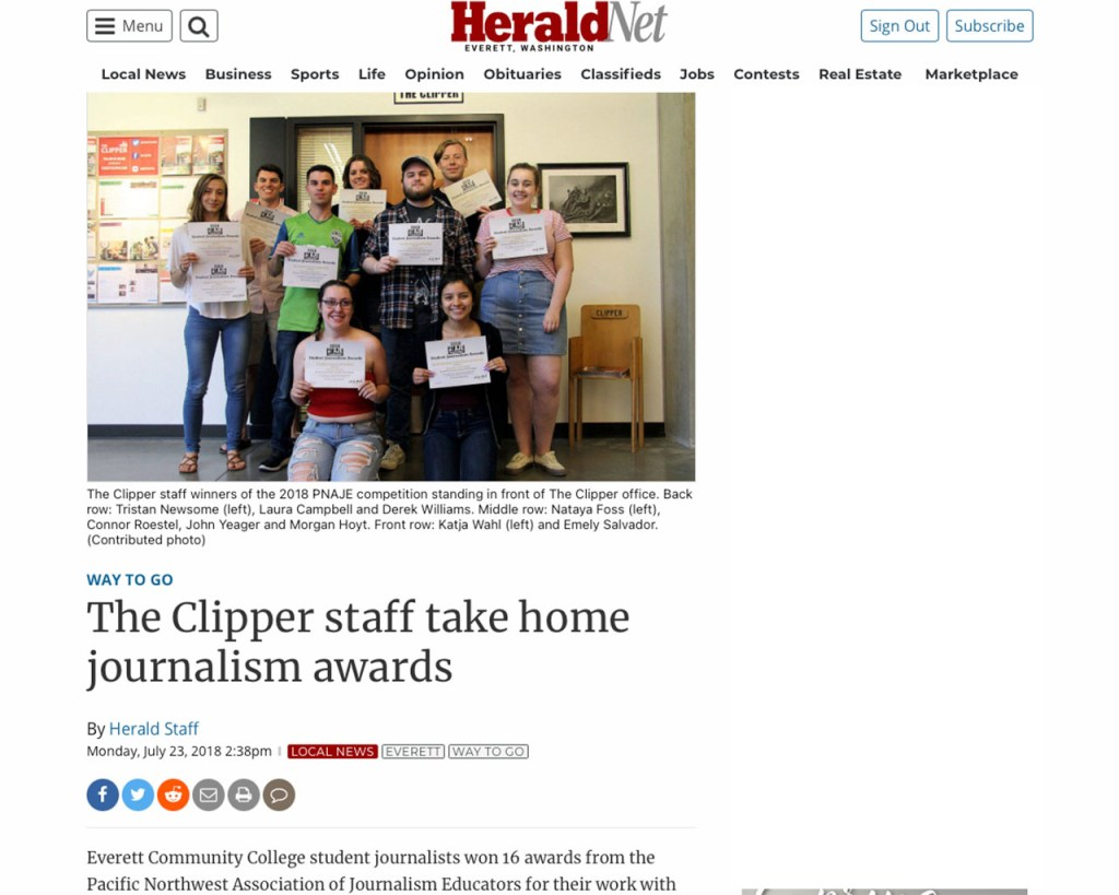 Screenshot of article published by The Herald on 7-23-18