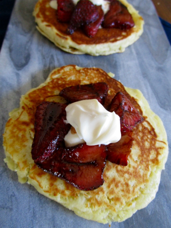 Balsamic Roasted Strawberry, Mascarpone, Pancakes