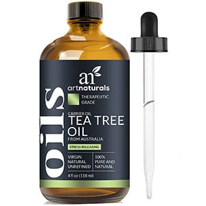 Tea tree oil essential oil from ArtsNaturals. Available through Amazon.