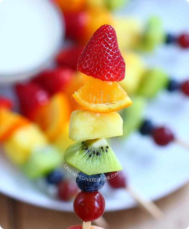 These beautiful Rainbow Fruit Kabobs from Chocolate Covered Katie are just one of many healthy, vegan lunch ideas - that both kids and adults will love!