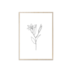 Here's how to create a modern boho living room, which balances the funky boho vibe with clean lines and neutral colours - and features beautiful decor like this lily art print.