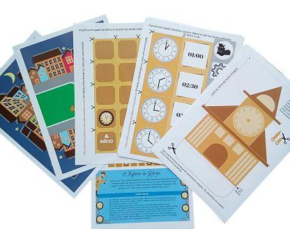Páginas do PDF do jogo O Mistério do Relógio.