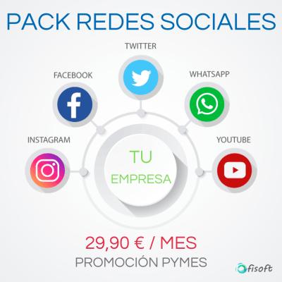 Pack de iniciación a redes sociales por solo 29,90 € al mes