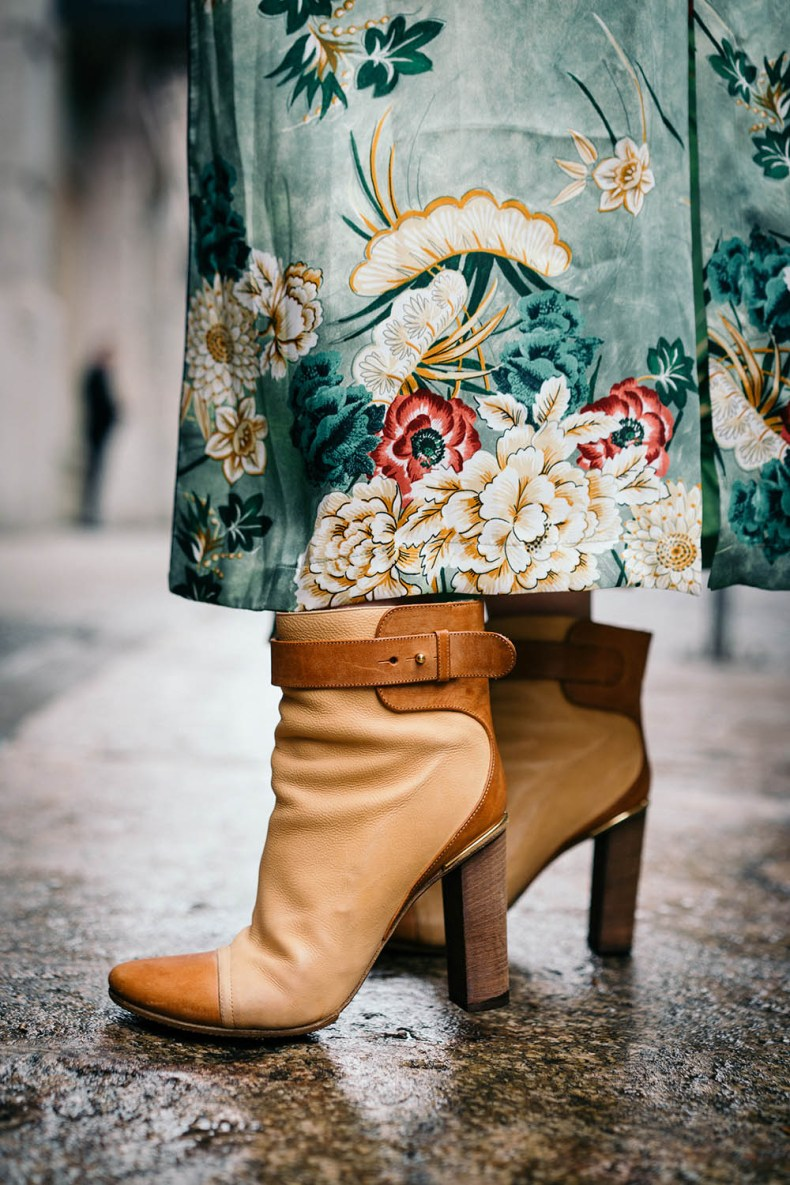 How to Style a Silk Robe for Spring | Chloe Boots | Of Leather and Lace Blog by Tina Lee