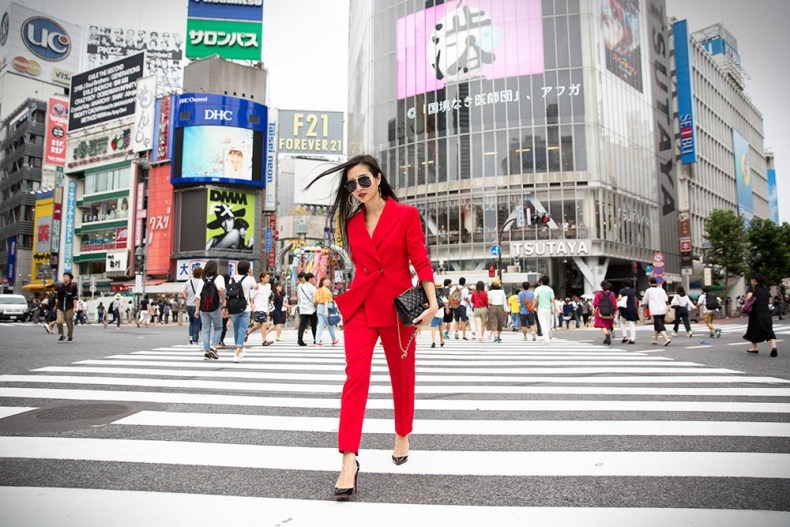 How To Rock A Red Suit For Women | Shibuya Crossing in Tokyo, Japan | Of Leather and Lace