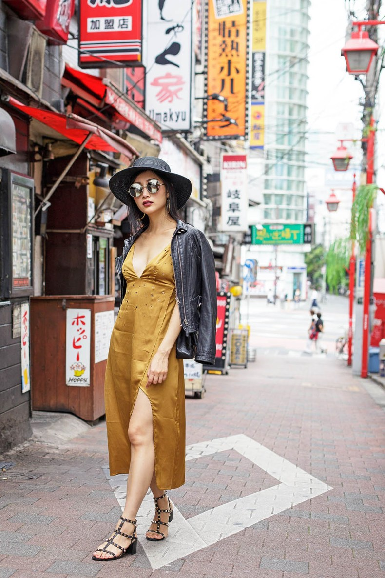 How to Style a Slip Dress for Fall | Mustard For Love and Lemons Slip Dress | Omoide Yokocho, Tokyo, Japan | Of Leather and Lace