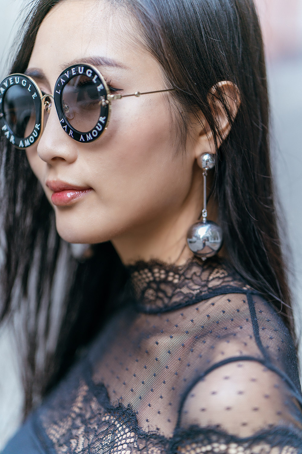 How To Wear Mules This Fall | Of Leather and Lace - A Fashion & Travel Blog by Tina Lee | Thistle & Spire Lace Bodysuit, Cult Gaia Bag, Gucci Round Sunglasses