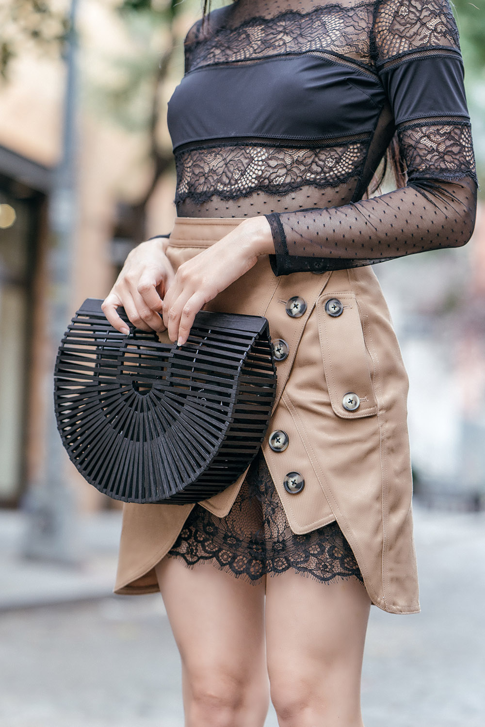 How To Wear Mules This Fall | Of Leather and Lace - A Fashion & Travel Blog by Tina Lee | Self Portrait Utility Skirt, Thistle & Spire Lace Bodysuit, Cult Gaia Bag