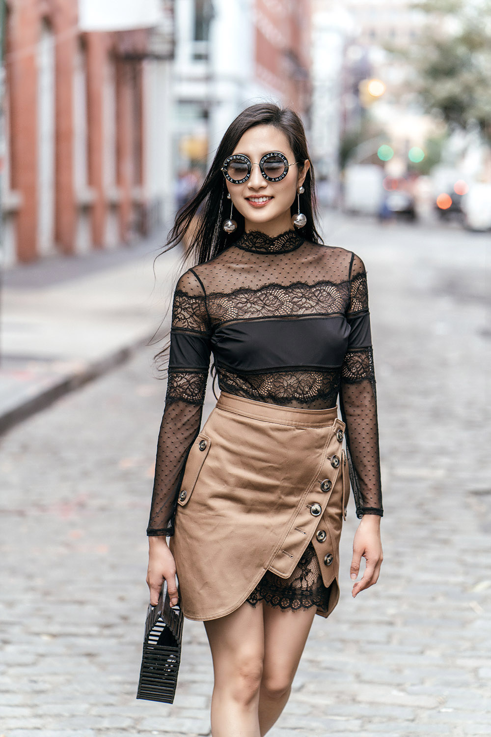 How To Wear Mules This Fall | Of Leather and Lace - A Fashion & Travel Blog by Tina Lee | Self Portrait Utility Skirt, Thistle & Spire Lace Bodysuit, Cult Gaia Bag, Gucci Round Sunglasses