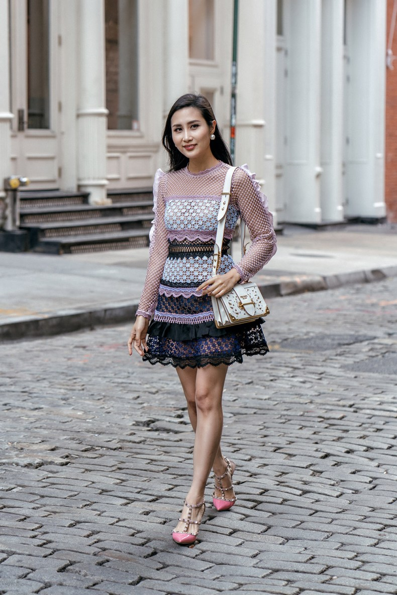 Self Portrait Purple Tiered Ruffle Lace Dress | Of Leather and Lace | Fashion blog by Tina Lee | feminine outfit ideas, ruffle dress, valentino rockstud