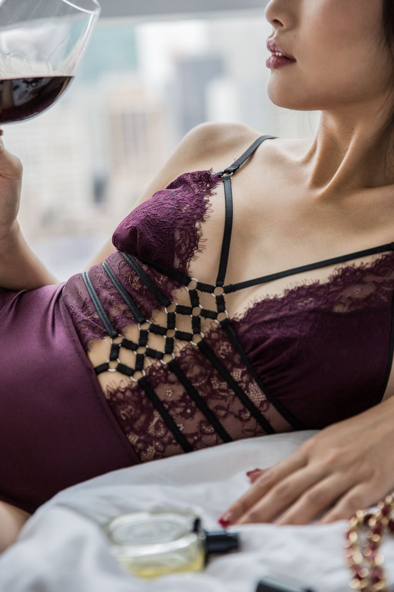 Thistle and Spire Purple Lace Body Suit | in NYC | Of Leather And Lace