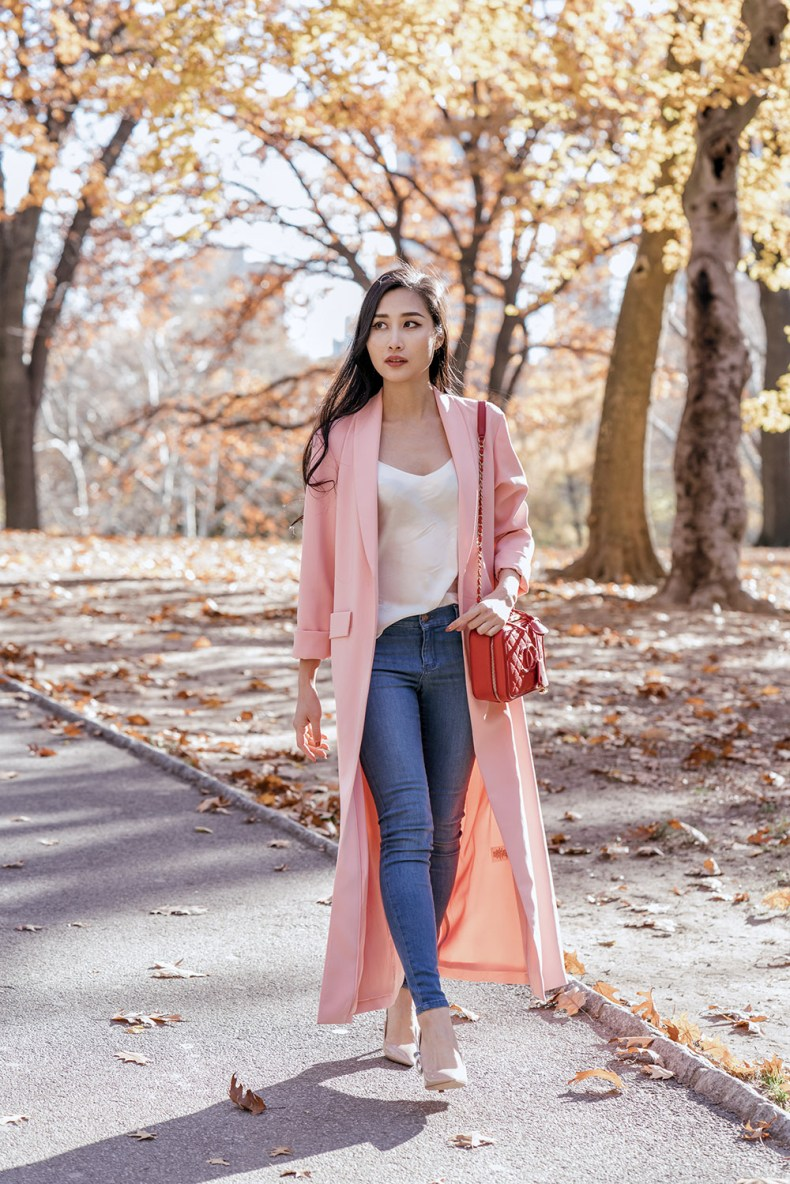 Everyone Needs a Duster Coat - Pink Long Duster Coat and Jeans | in NYC | Ofleatherandlace.com