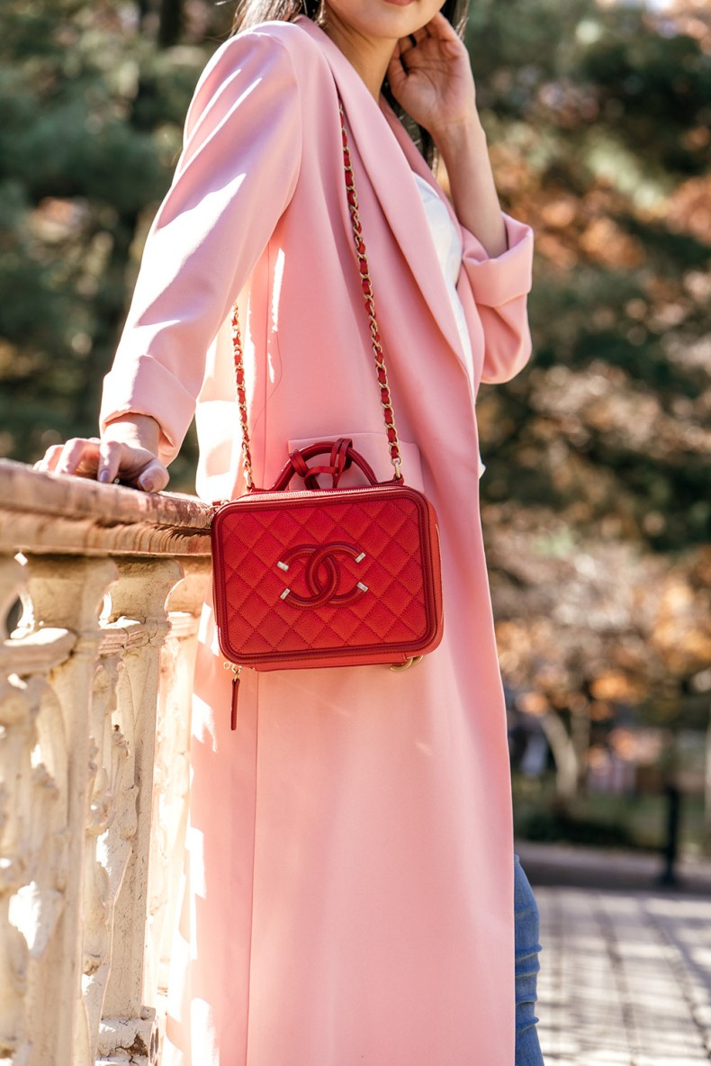 Pink Long Duster Coat with Red Chanel Bag | in NYC | Ofleatherandlace.com