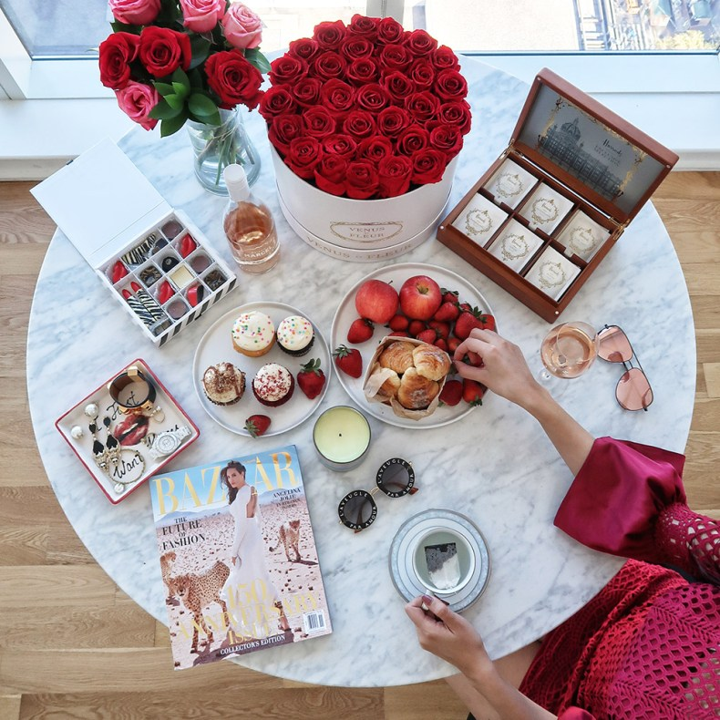 Romantic and Luxe Flatlay on Marble Table | Ofleatherandlace.com