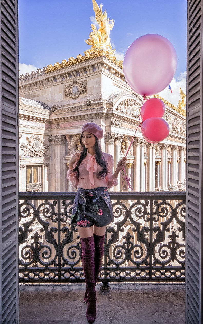 How to Wear Feminine Style - Pink Blouse and Floral Skirt | Ofleatherandlace.com