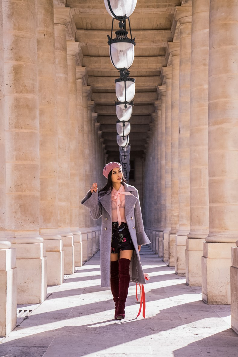 How to Wear Feminine Style in the Cold - Gray Trumpet Sleeve Coat with Pink Blouse and Over the Knee Boots   in Paris   Ofleatherandlace.com
