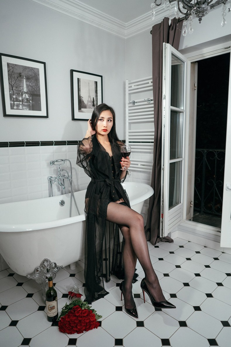 Embrace Your Feminine Side and Sensuality - Black Corset and Sheer Stockings | in Paris | Ofleatherandlace.com