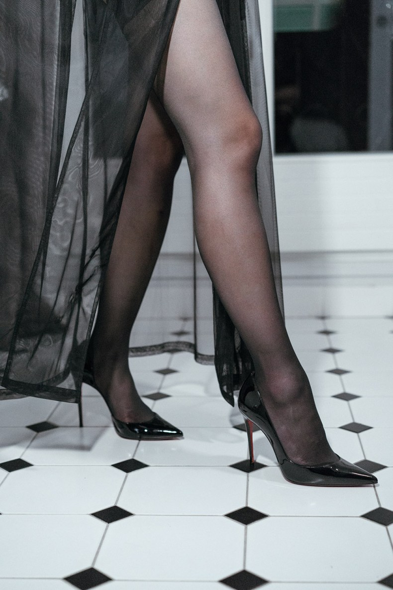 Embrace Your Feminine Side and Sensuality - Black Sheer Stockings and Vinyl Heels | in Paris | Ofleatherandlace.com
