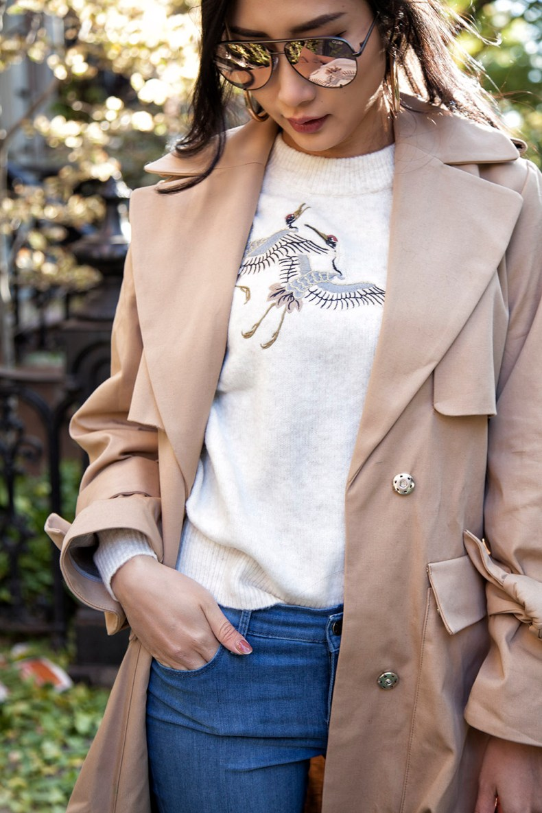 How to Style a Trench Coat for Winter - Sweater with Long Trench Coat | in NYC | Ofleatherandlace.com