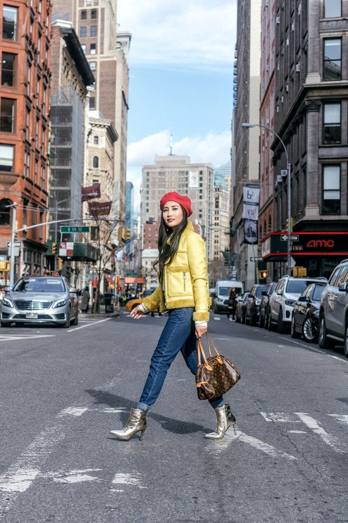 Colorful Winter Brunch Outfit at Outro NYC | in NYC | Of Leather and Lace