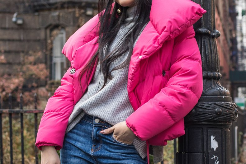 Stylish Puffer Jackets to Get You Through Winte | Of Leather and Lace - Fashion Blog by Tina Lee | puffer jacket outfit, winter outfit, winter outfit casual, fashion blogger style, pink jacket outfit, pink winter outfit, style blogger fashion blog, outfit ideas for winter