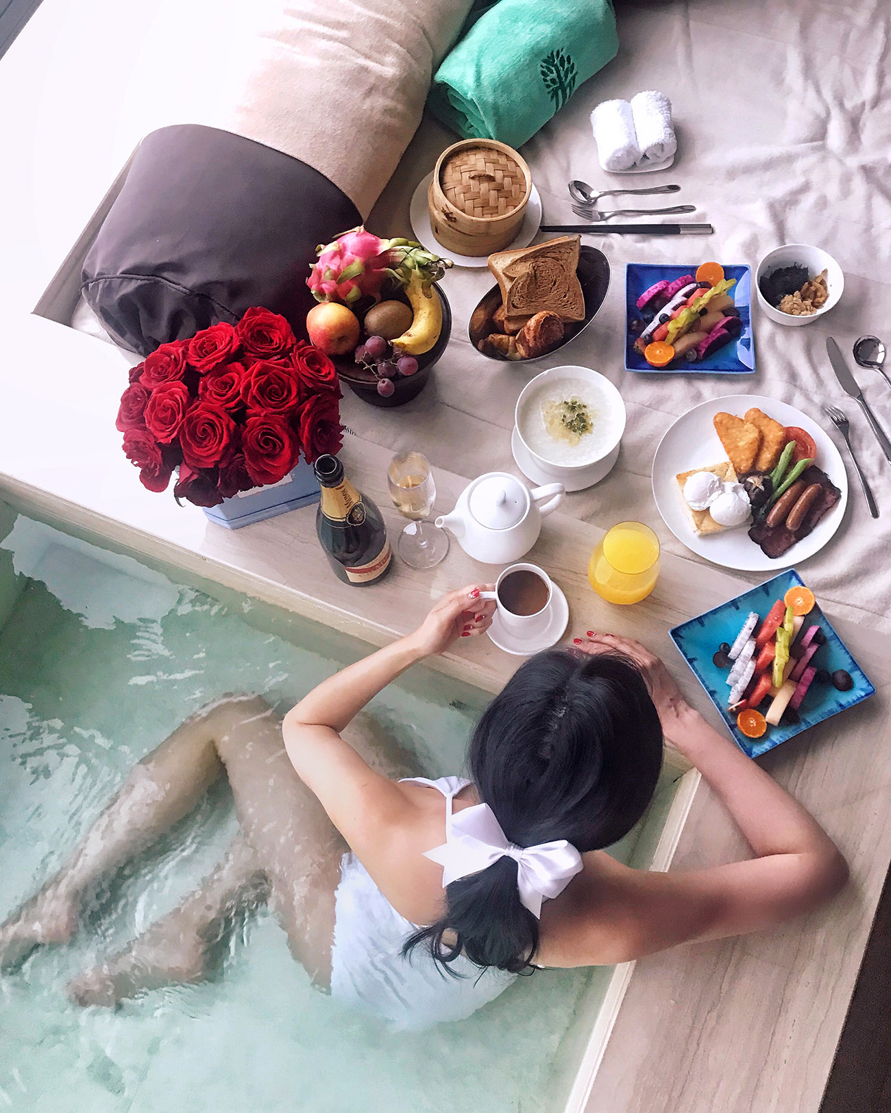 Banyan Tree Shanghai on the Bund - Hotel Room with a Pool and a View   Of Leather and Lace - Fashion & Travel Blog by Tina Lee   hotel review, shanghai city, food flatlay, breakfast time