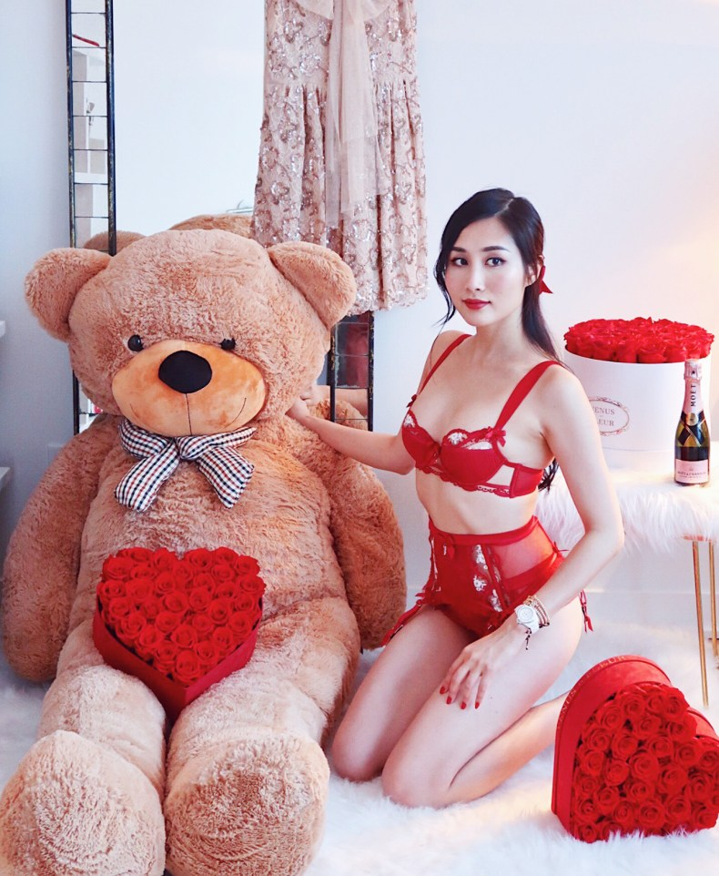 9 Days of Valentine – Day 7: Lounging in Lace and My Lingerie Picks | Of Leather and Lace - Fashion and Travel Blog by Tina Lee | red bra set, red lingerie, valentines lingerie, red roses, preserved roses, giant teddy bear