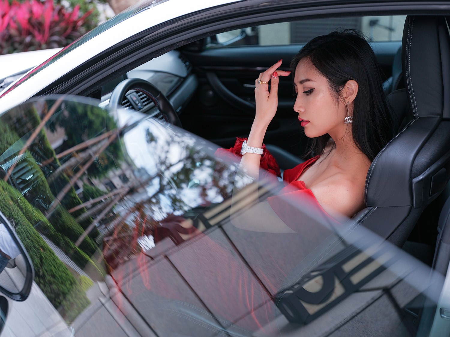 9 Days of Valentine – Day 3: Take A Road Trip   Of Leather and Lace - Fashion & Travel Blog by Tina Lee   valentines date ideas, valentines day decor, red roses, bmw m4, sportscar, red dress, valentines dress, valentines outfit ideas