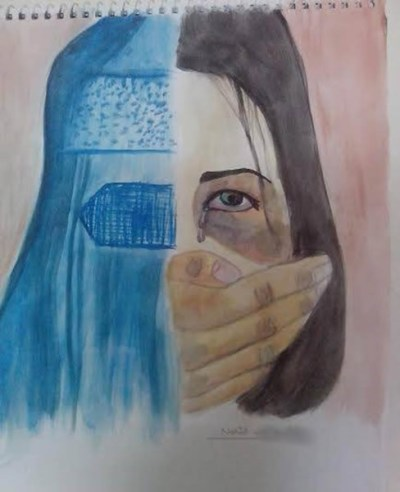 Nahid-W-drawing-GirlUnderBurqa