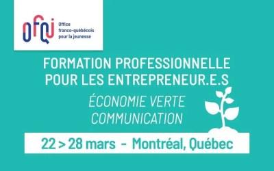 Formation entrepreneurs de l'économie verte et de la communication 2020