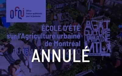 École d'été sur l'Agriculture urbaine de Montréal 2020 – annulé