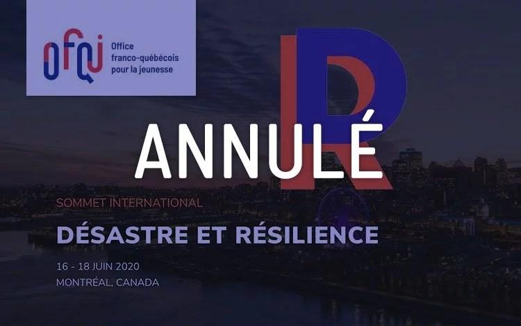 Désastre et résilience 2020 - Annulé