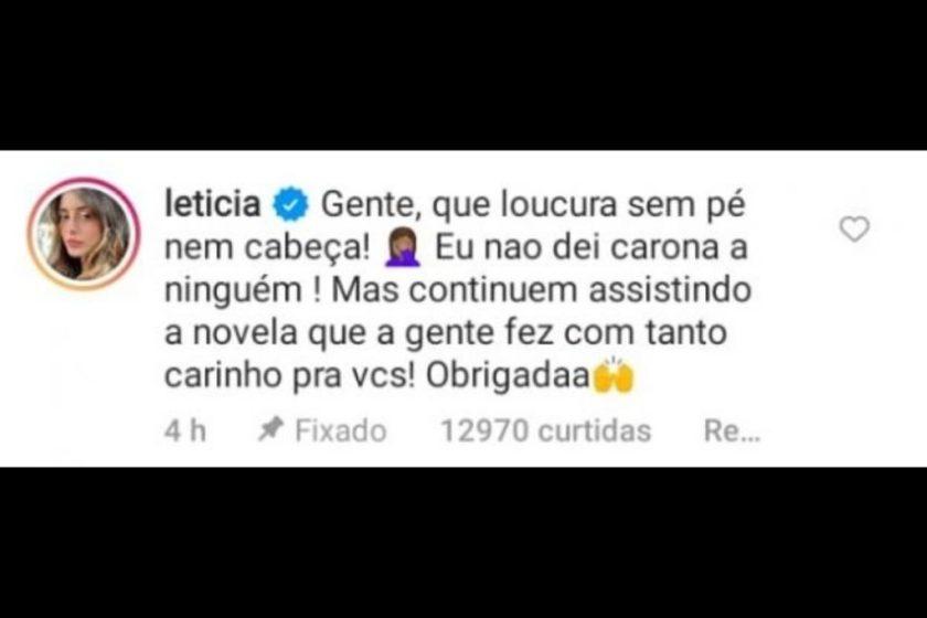 Letícia Almeida denies a ride to Juliano Laham