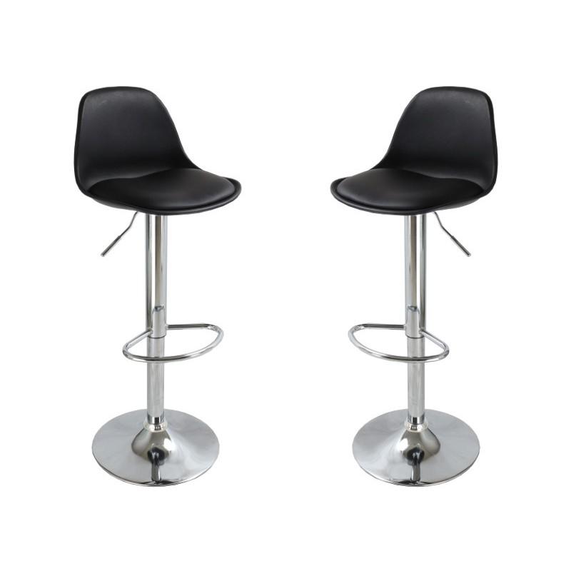 tabouret de bar syl noir lot de 2 siege chaise haut telescopique ogalbe viala