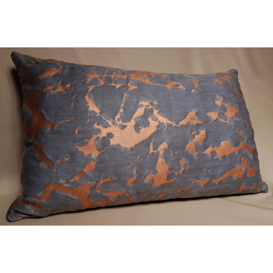 lumbar throw pillow cushion cover fortuny fabric black grey copper marmo pattern
