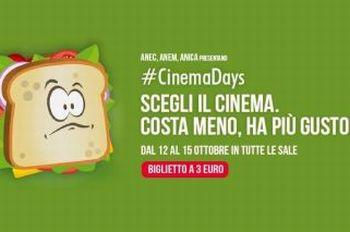 Film in sala a soli 3 euro dal 12 al 15 ottobre:arriva CinemaDays
