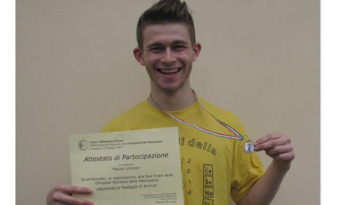 Il novese Lorenzo Mazza é il terzo più bravo studente d'Italia in matematica