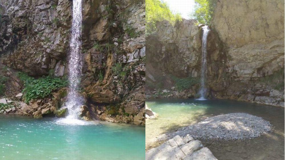 Vandali alla cascata Gardena in val Borbera. Forse sono di Tortona. Le immagini del paradiso violato
