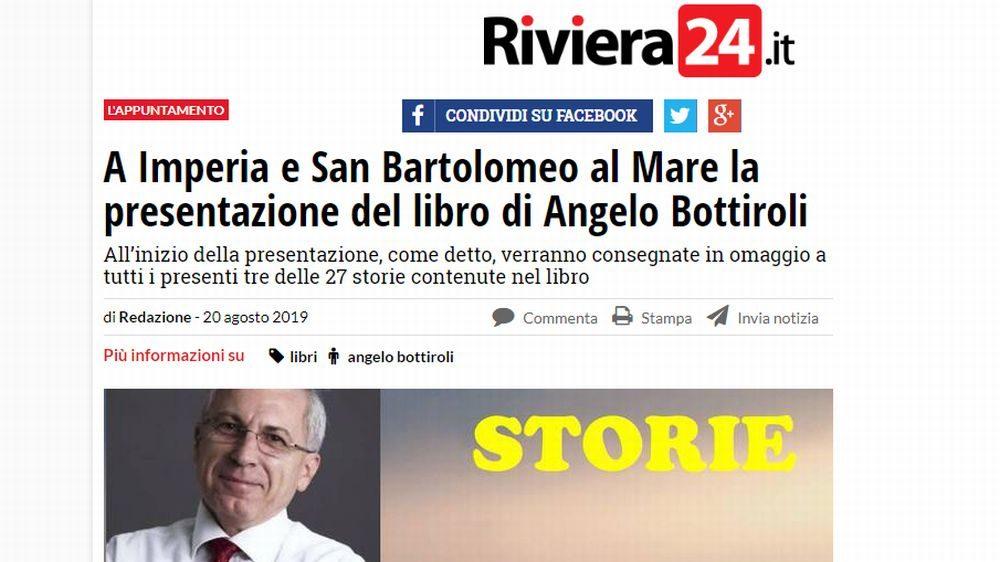 """Il prestigioso quotidiano """"Riviera 24"""" dedica un ampio servizio al nostro Direttore per il suo libro """"Storie"""""""