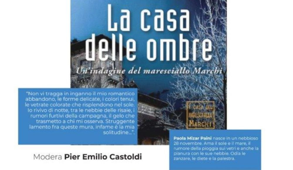Sabato a Rivarone si presenta un  bel libro giallo: La Casa Delle Ombre