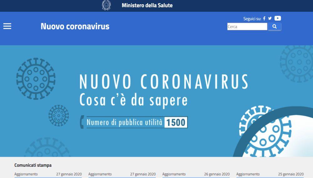 Coronavirus, un sito nazionale del Ministero della Salute per tenersi aggiornati sull'evoluzione di questa nuova e pericolosa malattia