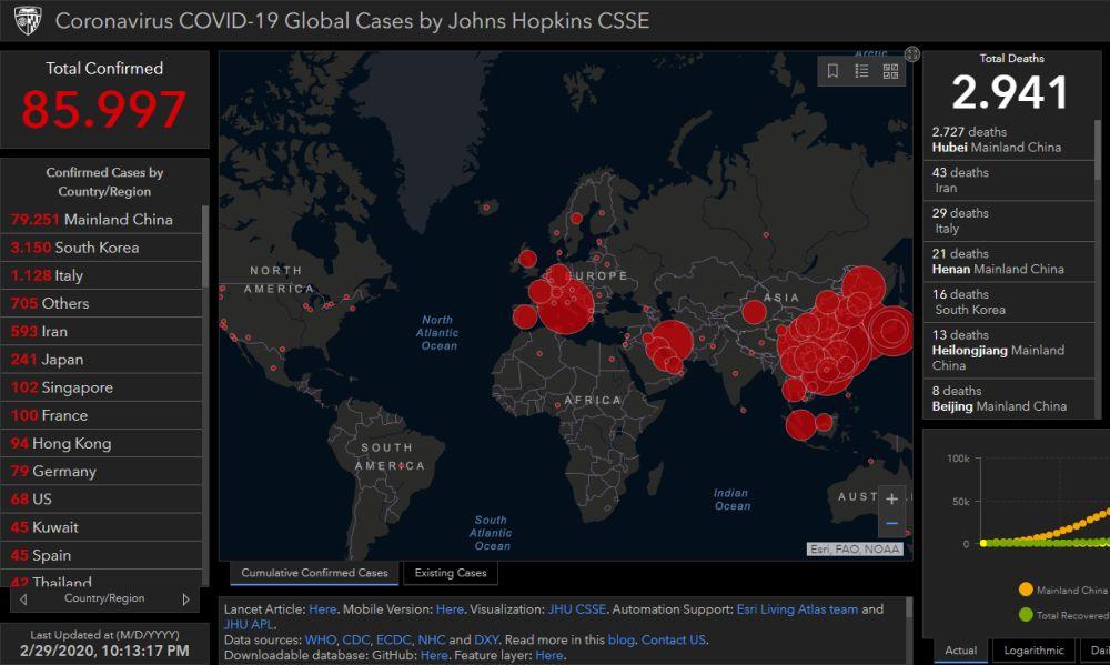 Coronavirus, la mappa del contagio in tempo reale. Italia terza al mondo per numero di contagi e decessi