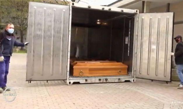Troppi morti a Tortona per il Virus e le bare in un container frigo vanno in Tv su La7. Il link per vederlo